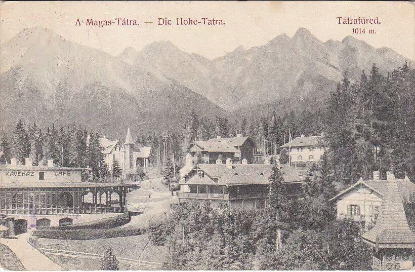 Dobová pohľadnica Smokovcov. V Pozadí vľavo Slavkovský štít.