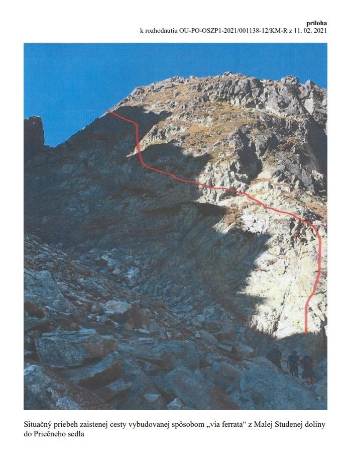 návrh ferraty - Priečne sedlo - pohľad z Malej Studenej doliny (zdroj: KST)